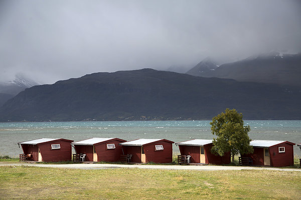 red huts in a row